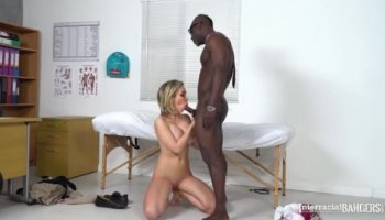 Buxom white chick got double penetrated by big black cocks